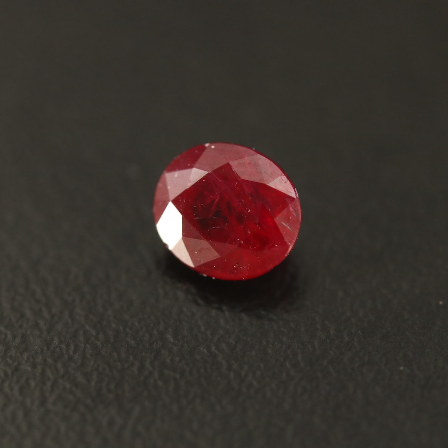 Loose 1.52 CT Oval Faceted Ruby