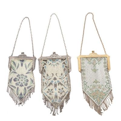 Mandalian Mfg. Co. Art Deco Enamel on Metal Mesh Frame Bags with Fringe