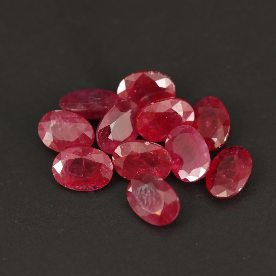 Loose 11.46 CTW Oval Faceted Rubies