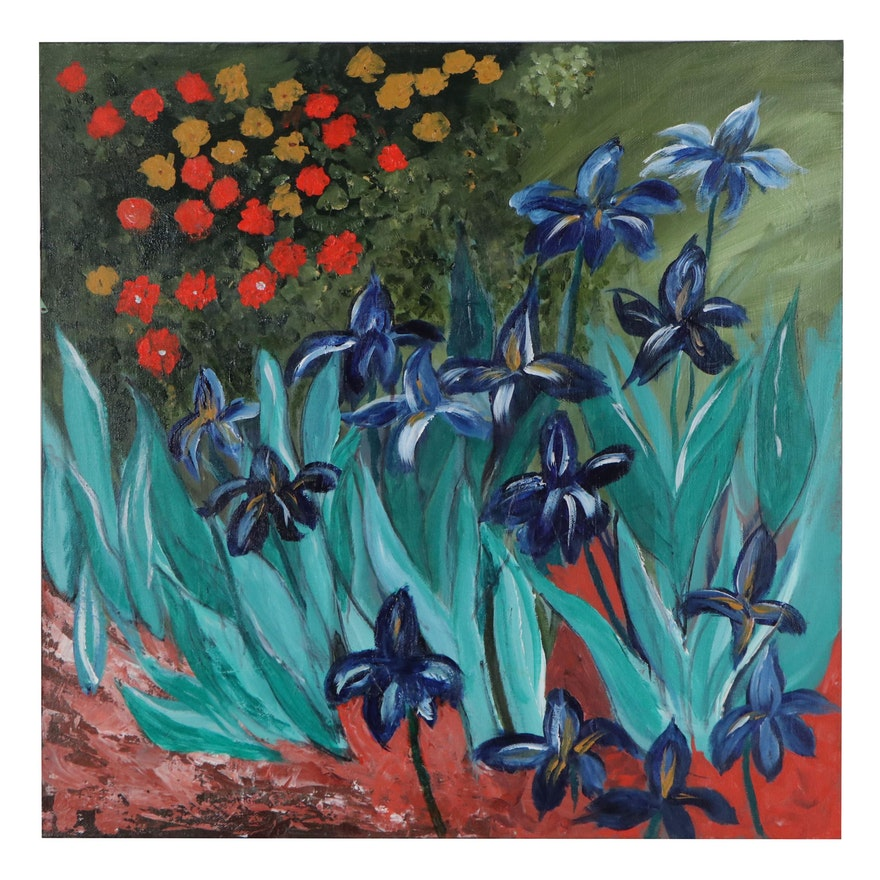 Elaine Neumann Acrylic Painting of Garden, 21st Century