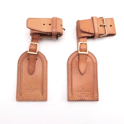 Louis Vuitton Malletier Luggage Tag and Poignet Sets in Vachetta Leather