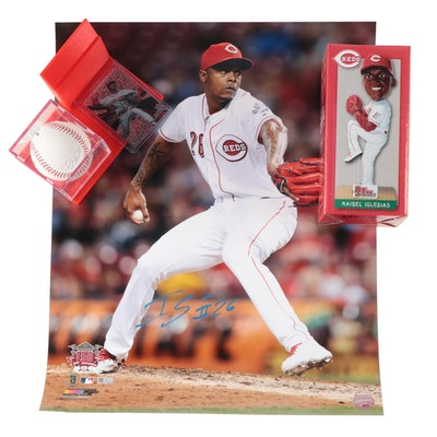 Raisel Iglesias Signed Rawlings MLB Baseball and Photograph with Bobblehead Doll