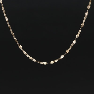 14K Diamond Cut Criss Cross Oval Link Necklace