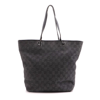 Gucci Tote Bag in Black GG Denim with Leather Trim
