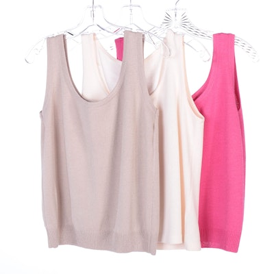 St. John Knit Shell Tops in Pink, Taupe, and Ivory