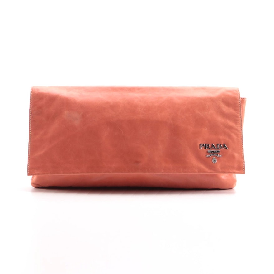 Prada New Look Clutch in Coral Leather