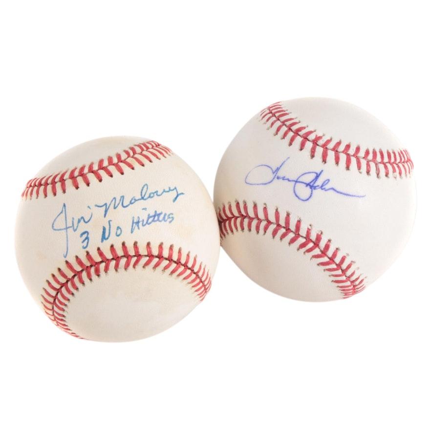 Jim Maloney and Tommy Helms Signed Rawlings Baseballs