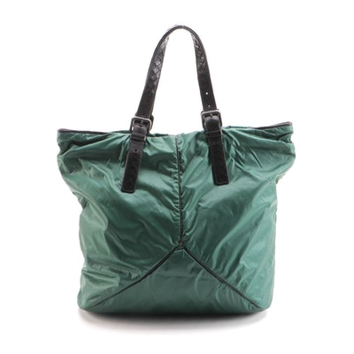 Bottega Veneta Green Nylon and Black Leather Zip Tote