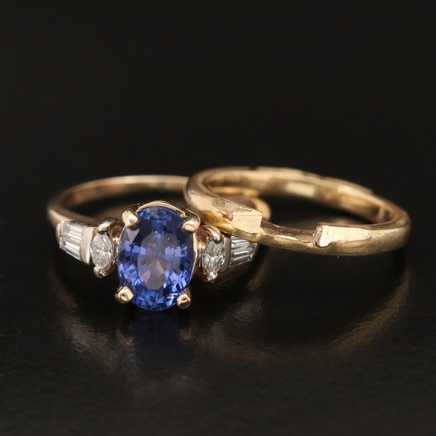2.63 CT Unheated Sri Lankan Sapphire and Diamond Ring with GIA Report and Band