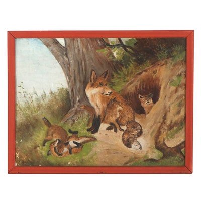 Oil Painting of Fox with Pups, Mid-20th Century