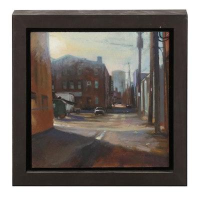Joseph Macklin Oil Painting of Urban Street Scene, 21st Century
