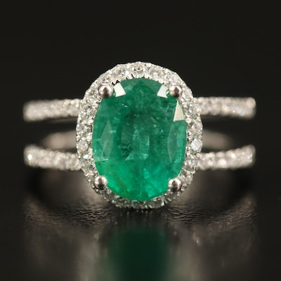Platinum 2.07 CT Emerald and Diamond Ring with Split Shoulders