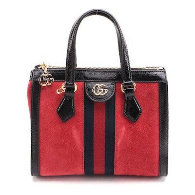 Gucci Ophidia Red Suede and Black Patent Leather Two-Way Bag