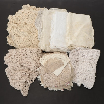Crochet and Embroidered Table Cloths and Doilies