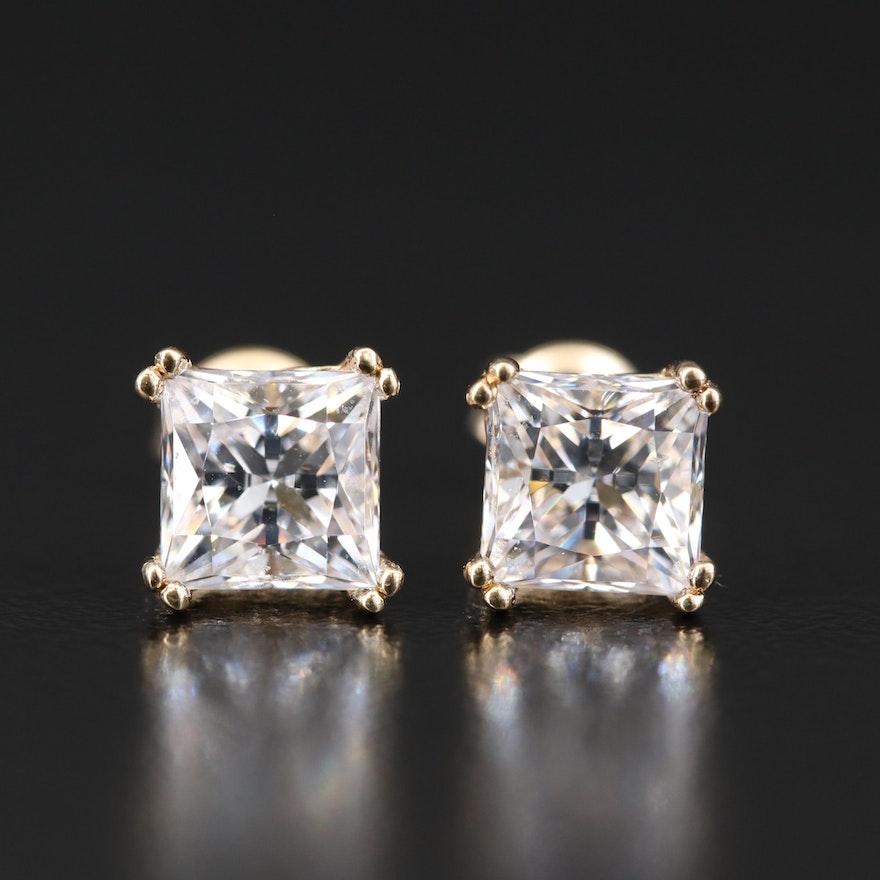 14K Cubic Zirconia Stud Earrings