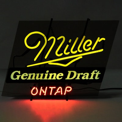 """Miller Genuine Draft On Tap"" Neon Illuminated Beer Sign"