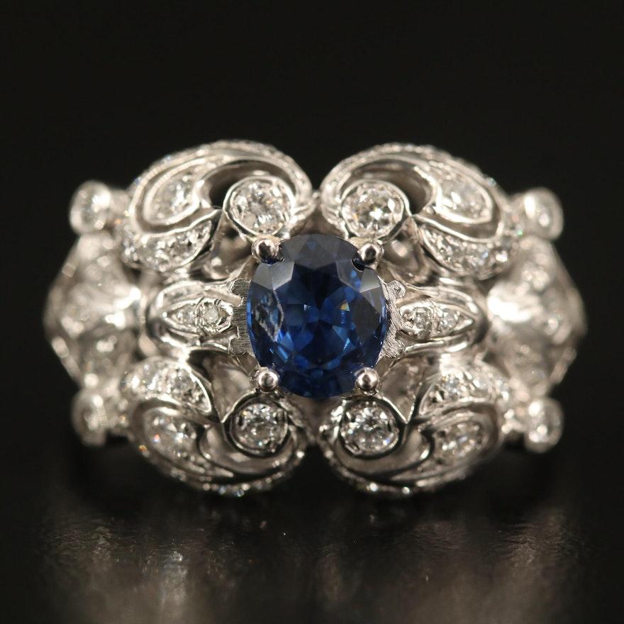 Platinum 1.04 CT Sapphire and Diamond Openwork Ring