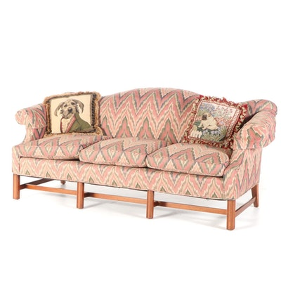 Hepplewhite Style Upholstered Camel Back Sofa, Late 20th Century