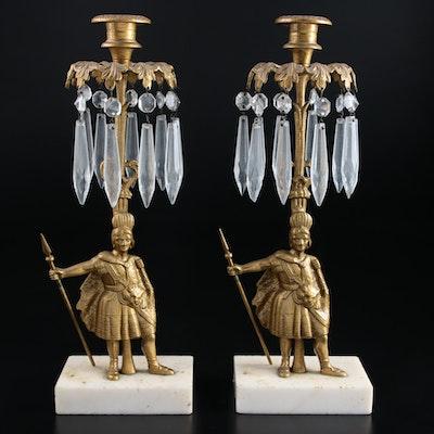 Victorian Figural Brass Girandoles, 19th Century