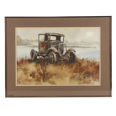 "Roberta Carter Clark Watercolor Painting ""Jaunty Relic,"" Late 20th Century"