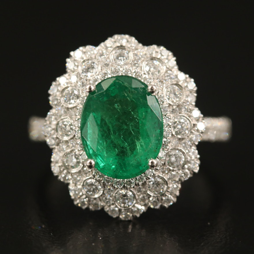 Platinum 2.13 CT Emerald and Diamond Scalloped Ring