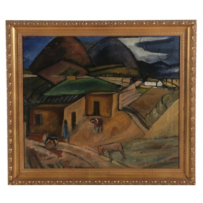 "Lucius Kutchin Oil Painting ""Taos, N.M."", Early 20th Century"
