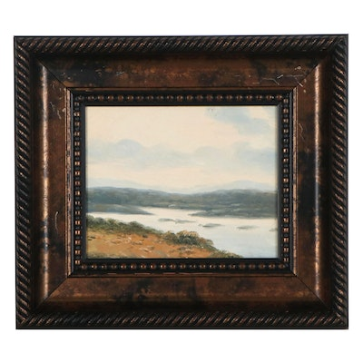 Landscape Oil Painting of Lake and Hills, Mid-Late 20th Century