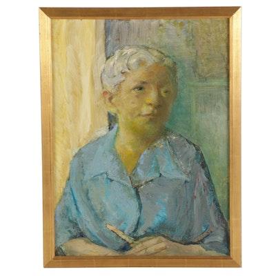"Carolyn Zimmerman Portrait Oil Painting ""Woman in Blue Shirt,"" circa 1992"