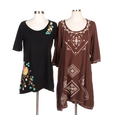 Johnny Was Embroidered Brown and Black Cotton Jersey Tunic Tops