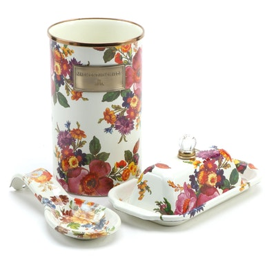 "MacKenzie-Childs ""Flower Market"" Utensil Holder, Butter Dish and Spoon Rest"