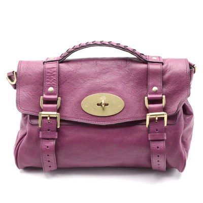 Mulberry Front-Flap Satchel in Plum Calfskin Leather