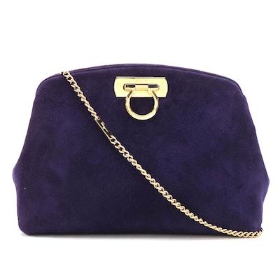 Salvatore Ferragamo Gancini Shoulder Bag in Royal Purple Suede with Chain Strap