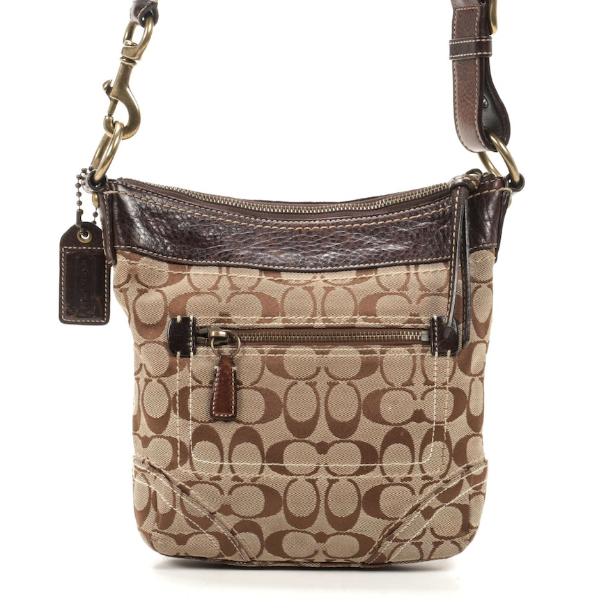 Coach Signature Canvas and Brown Pebbled Leather Crossbody Bag