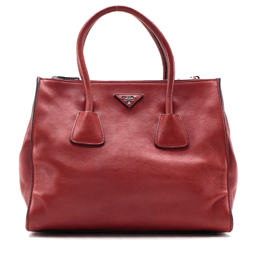 Prada Twin Pocket Tote in Red Glacé Calf Leather