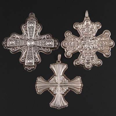"Reed & Barton ""Christmas Cross"" Sterling Silver Ornaments, Late 20th Century"