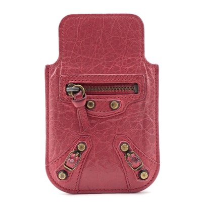 Balenciaga Classic Phone Holder in Rose Thulian Lambskin Leather