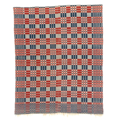 Handwoven American Overshot Coverlet, Late 19th to Early 20th Century