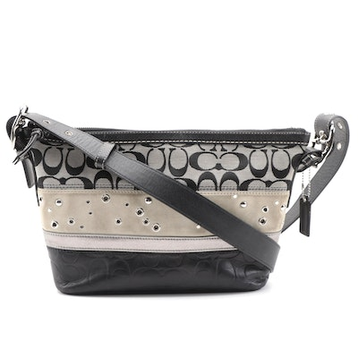 Coach Studded Patchwork Shoulder Bag in Beige and Black