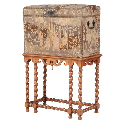 Flemish Style Needlepoint-Covered Trunk-Form Secretaire on Barley-Twist Stand