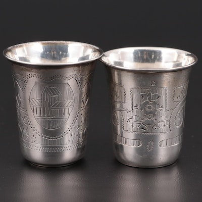 Russian Chased 875 Silver Vodka Cups; Late 19th Century