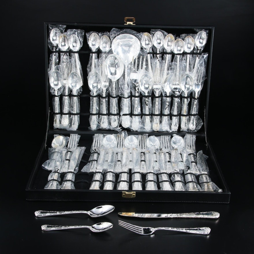 Chinese Silver Plate Flatware with Serving Utensils and Silver Case