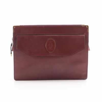Must de Cartier Bordeaux Leather Zip Clutch