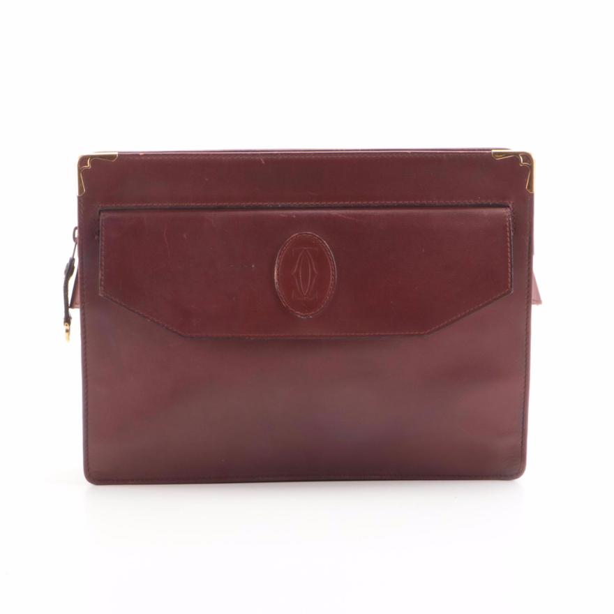Must de Cartier Bordeaux Leather Zip Clutch