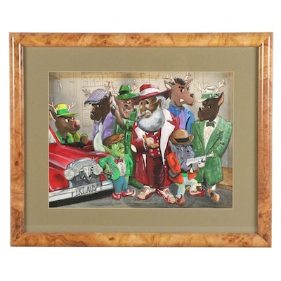 """Kerry Johnson Mixed Media Painting """"Klaus the Pimp and His Holiday St. Posse"""""""