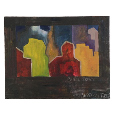 """Anderson Turner Acrylic Painting """"Panel Town,"""" 1996"""