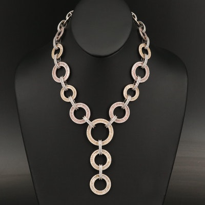 Sterling Silver Cubic Zirconia Circle Link Necklace