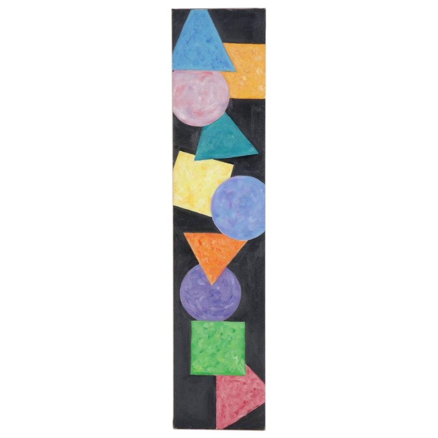 Heidi Hoy Geometric Abstract Oil Painting, circa 2000