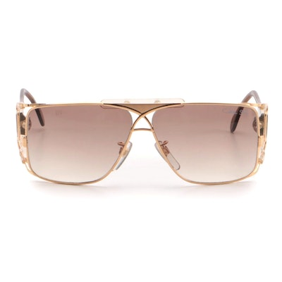Cazal 955 Gold Rectangular Sunglasses with Open Sides