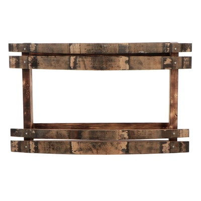 Salvaged Bourbon Barrel Wood Wall Shelf