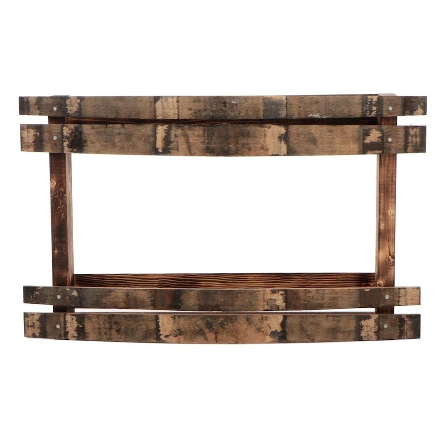 Salvaged Bourbon Barrel Wood Wall Shelf
